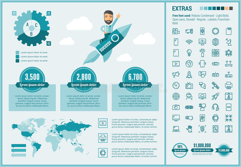Technology flat design Infographic Template. Technology infographic template and elements. The template includes illustrations of hipster men and huge awesome stock illustration