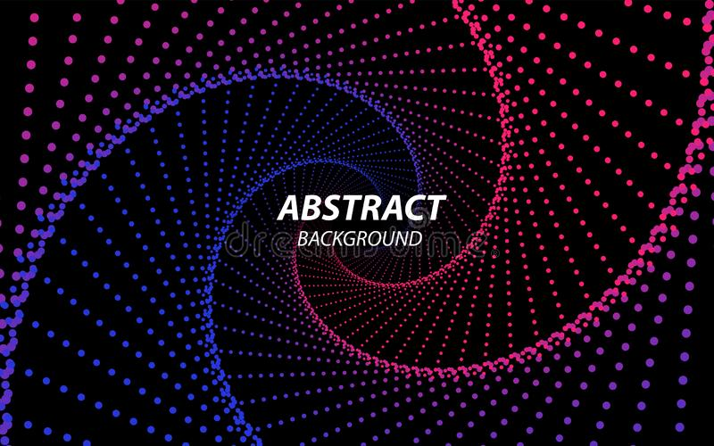 Technology Fractal with Wave Lines and Dots. Futuristic Style. Big Data Stream Visualization. Abstract Radial Tunnel royalty free illustration