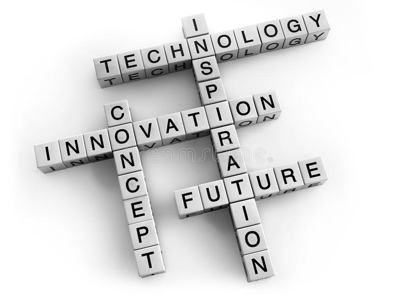 Technology Future Innovation. Technology and innovation crossword concept royalty free illustration
