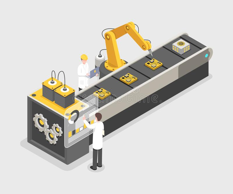Technology gadget assembly line, manufacturing process. Engineers working on industrial plant, research laboratory 3d stock illustration
