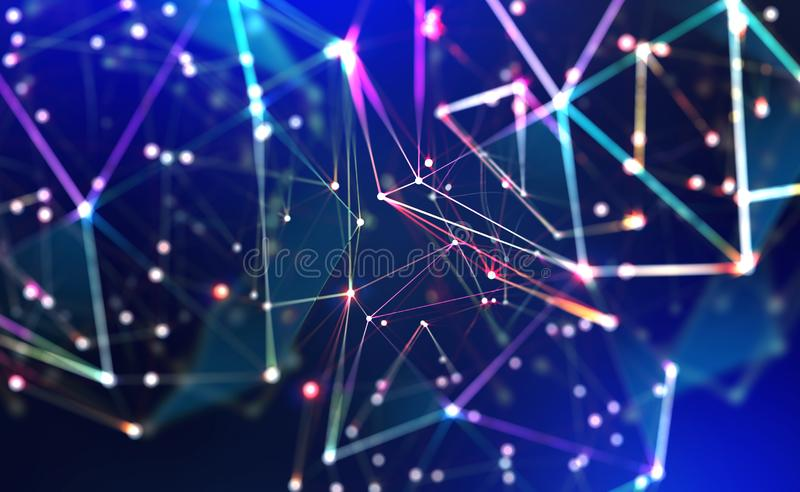 Technology, global network, movement in space and time. Festive Illumination royalty free stock image
