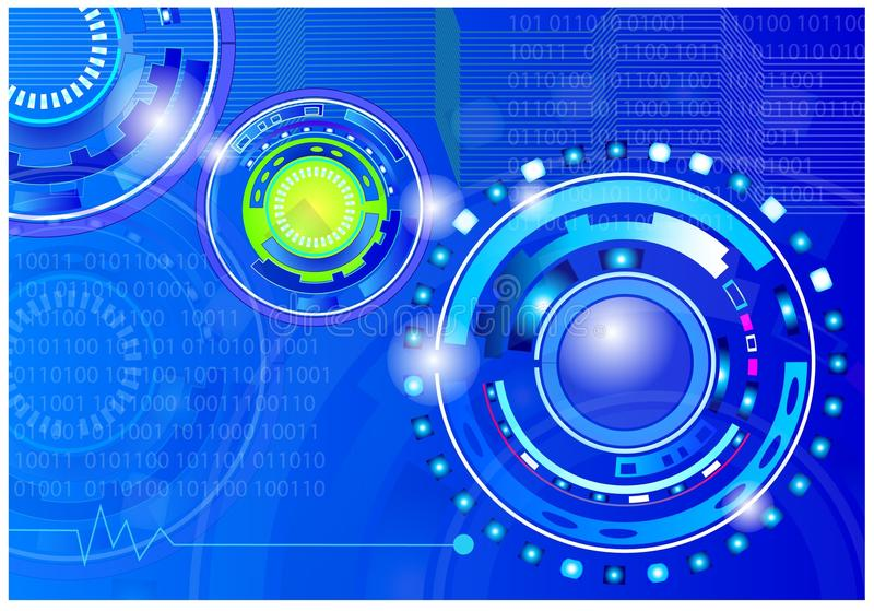 Technology graphics. A blue banner of technology new using computer circuits stock illustration