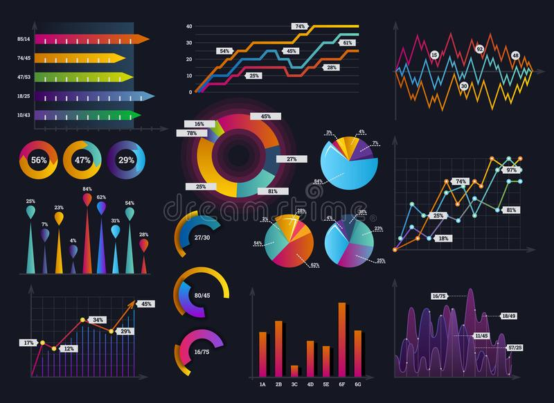 Technology graphics and diagram with options and workflow charts. Vector presentation infographic elements. Digital. Screen graphic and virtual interface vector illustration