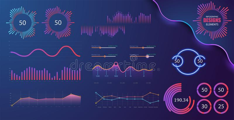 Technology graphics and diagram with options and workflow charts. Vector presentation infographic elements. Digital screen graphic and virtual interface vector illustration