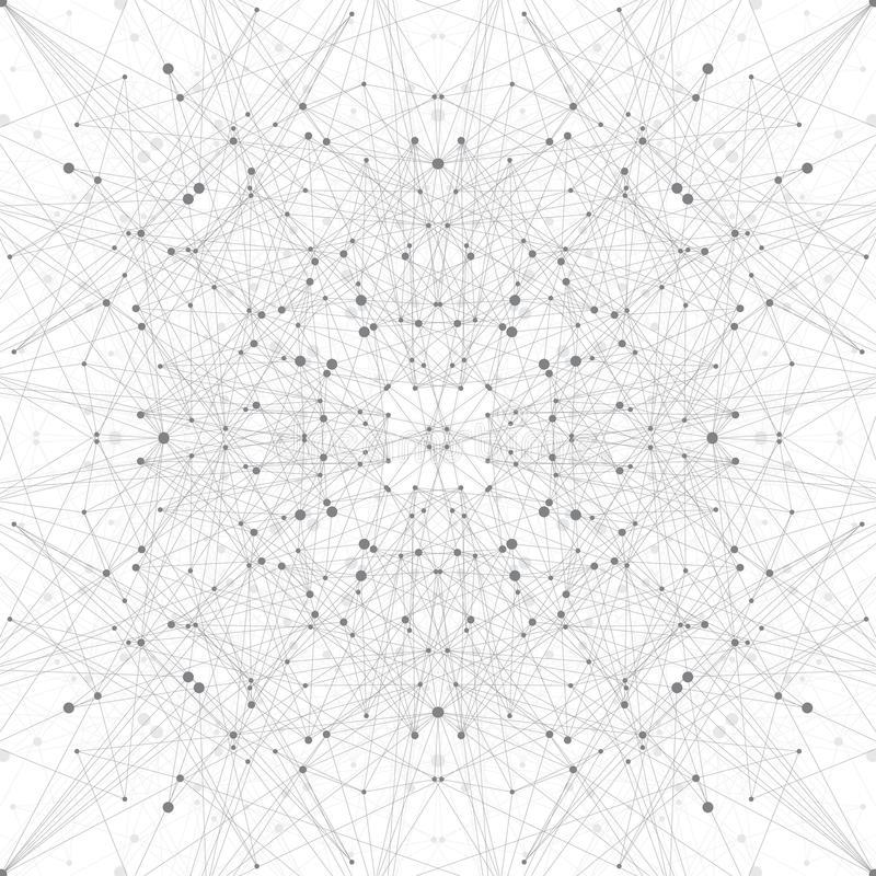 Technology grey illustration . Connected lines with dots vector illustration