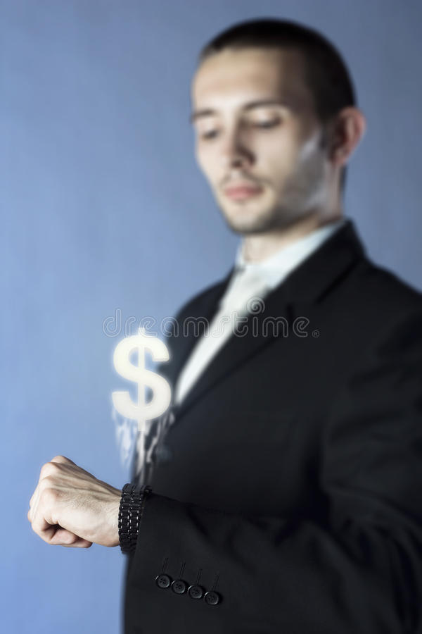 Technology in the hands of businessmen. Concept stock image