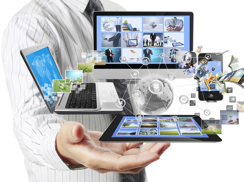 Technology in the hands stock photography