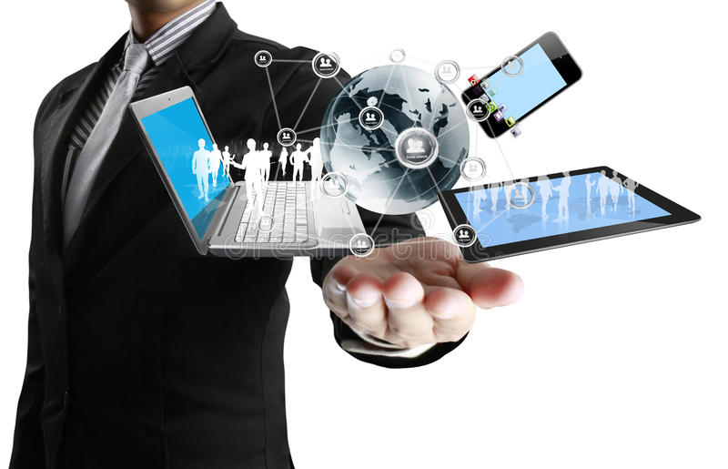 Technology in the hands royalty free stock images