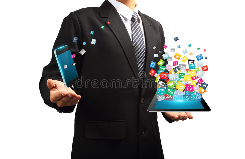 Technology in the hands of businessmen vector illustration
