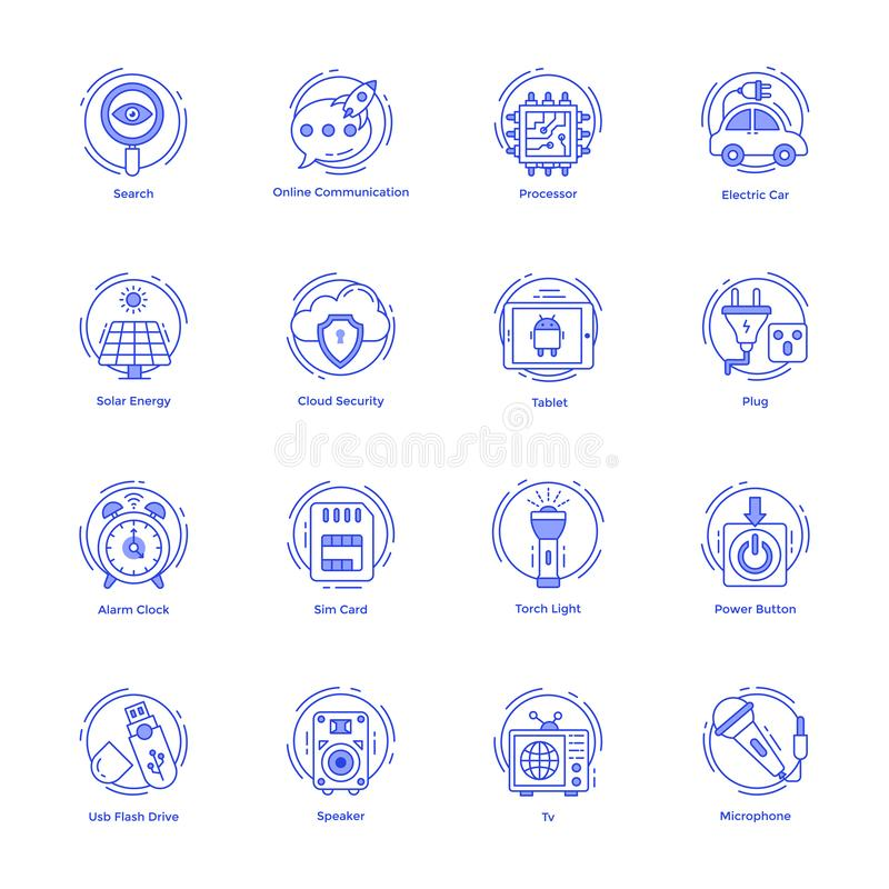Technology and Hardware Line Icons Pack royalty free illustration