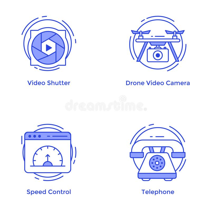 Technology and Hardware Line Vectors Pack royalty free stock images