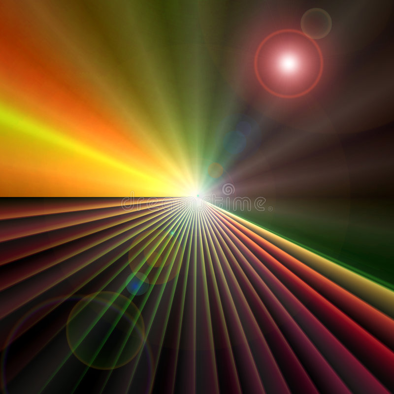 Technology On The Horizon. Background cyberspace design of colorful technology perspective abstract with burst of horizon lines and circles of light royalty free stock photos