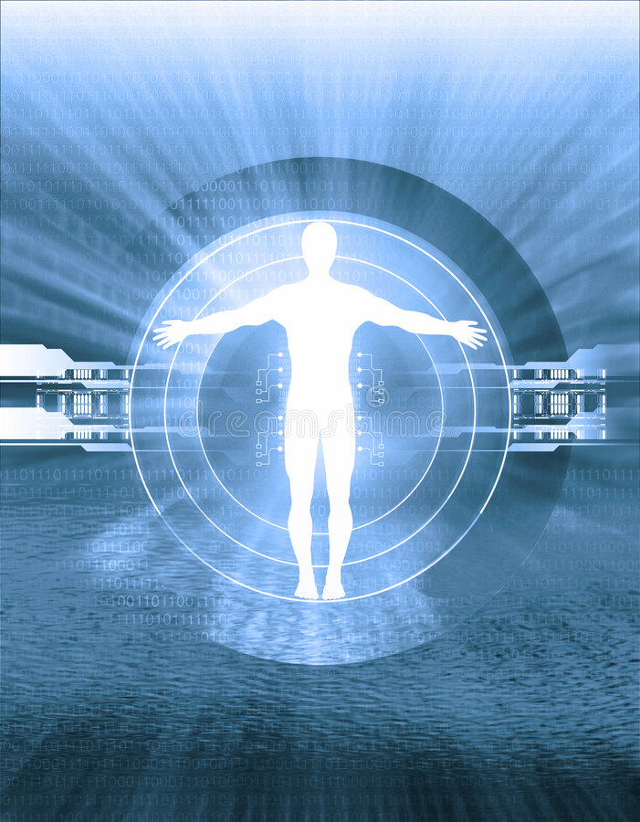 Technology and human body intersection vector illustration