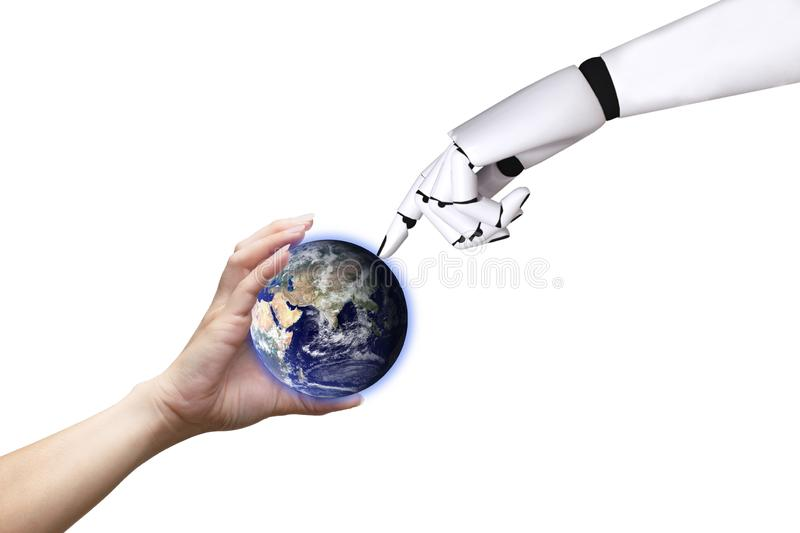 Technology human hand globe robot White background of Earth image provided by Nasa. Technology human hand globe and robot White background of Earth image royalty free stock photos