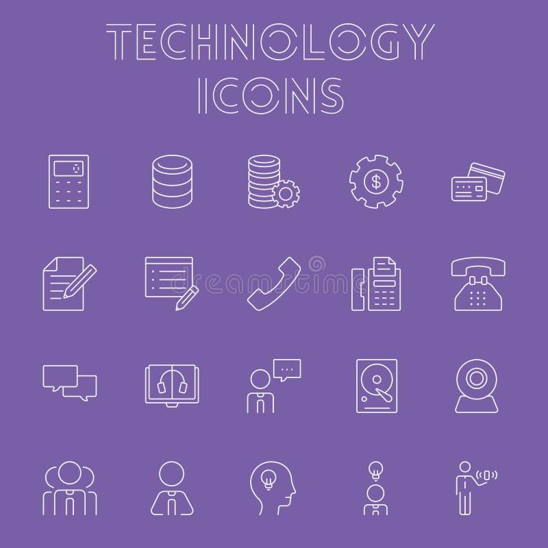 Technology icon set. Vector light purple icon isolated on dark purple background royalty free illustration