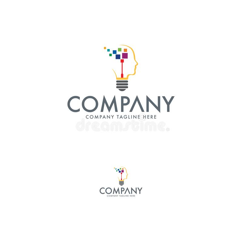Technology Idea Logo Design Template stock illustration
