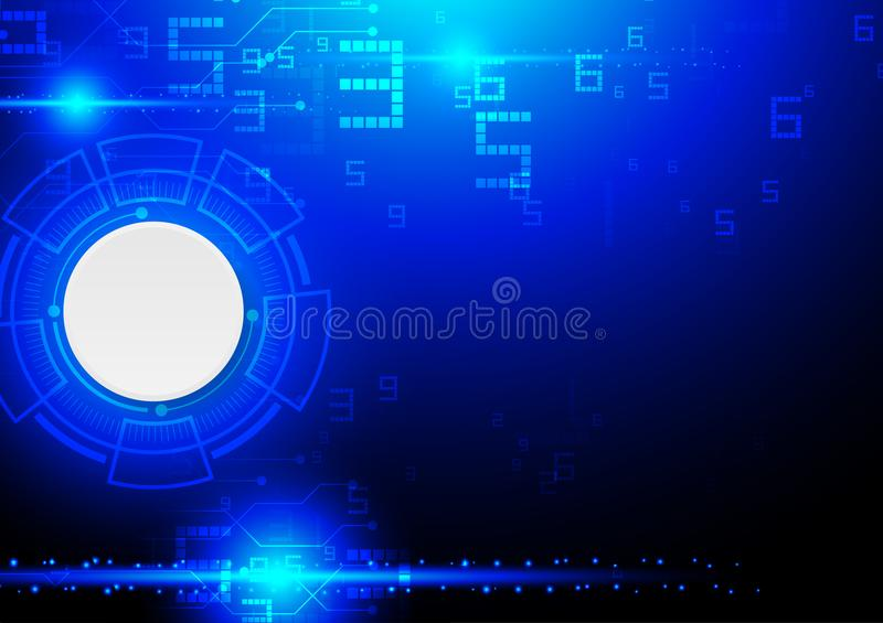 Technology illustration, digital white abstract circle button wi vector illustration