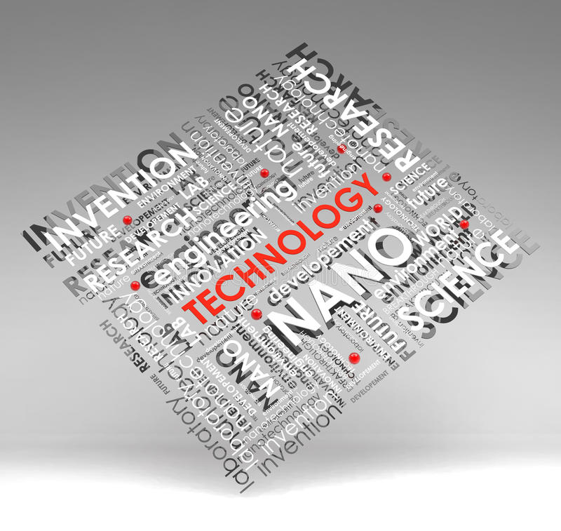 Technology info-text (cloud), illustration with s. Cientific research terms on gray background vector illustration