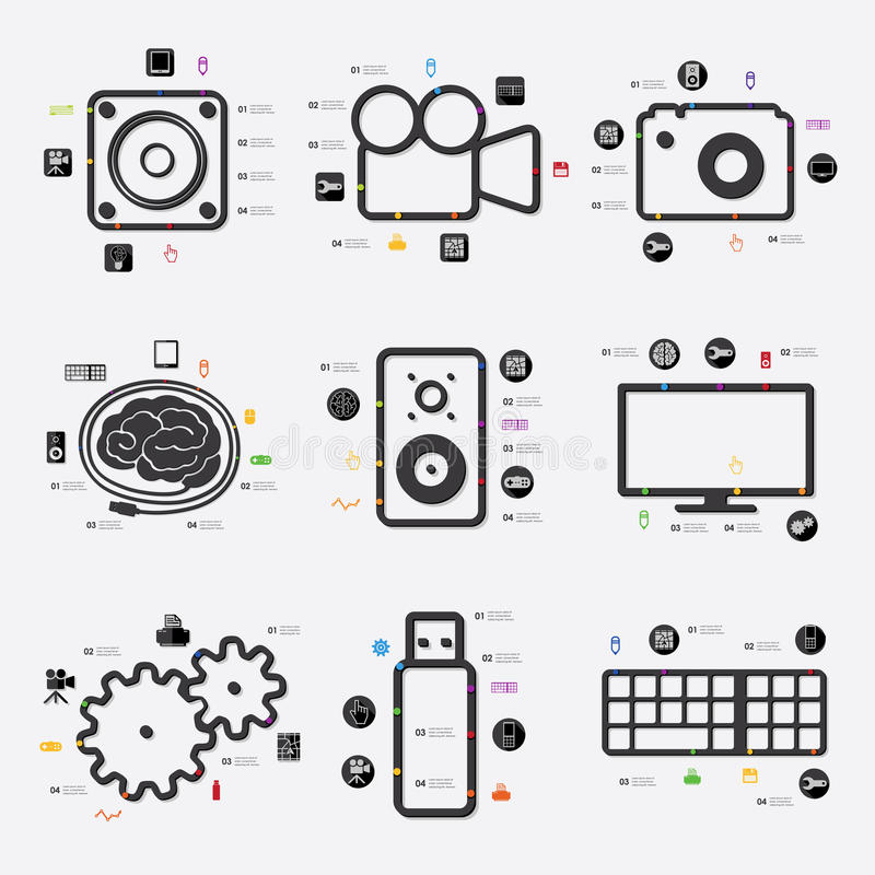 technology timeline infographics with blurred stock vector