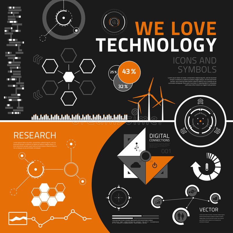 Technology infographics elements, icons and symbols. Technology infographics elements for business reports and presentations vector illustration