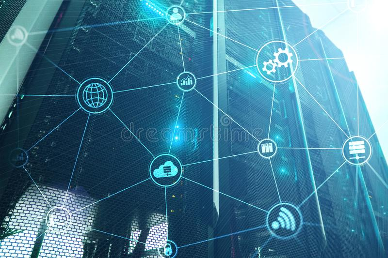 Technology infrastructure cloud computing and communication. Internet concept. royalty free stock images