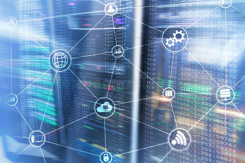 Technology infrastructure cloud computing and communication. Internet concept. royalty free stock photos
