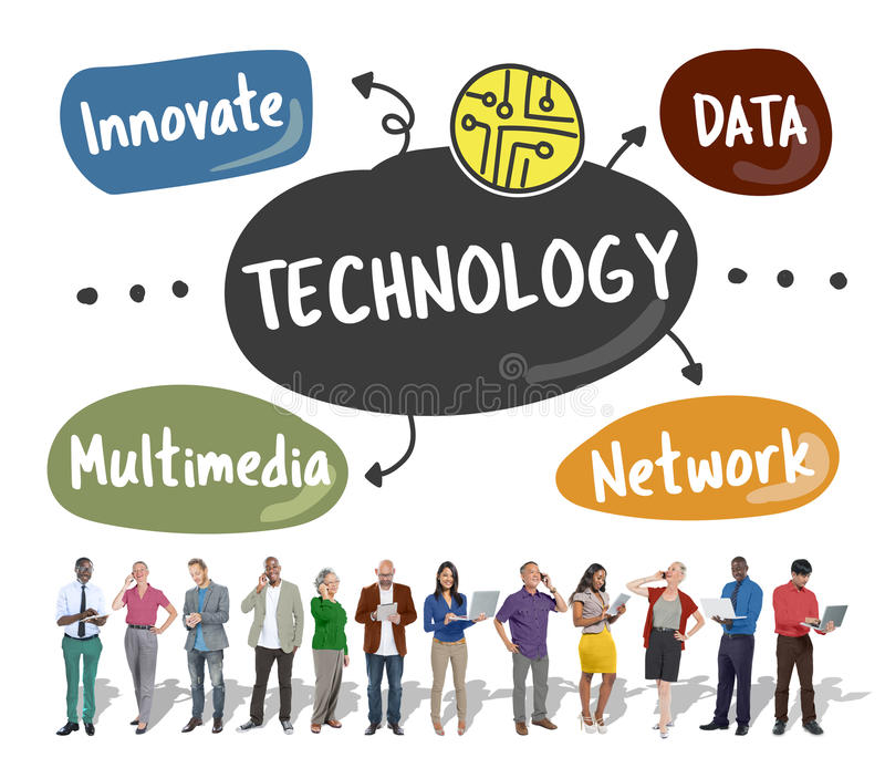 Technology Innovate Data Network Multimedia Words Graphic Concept stock photos