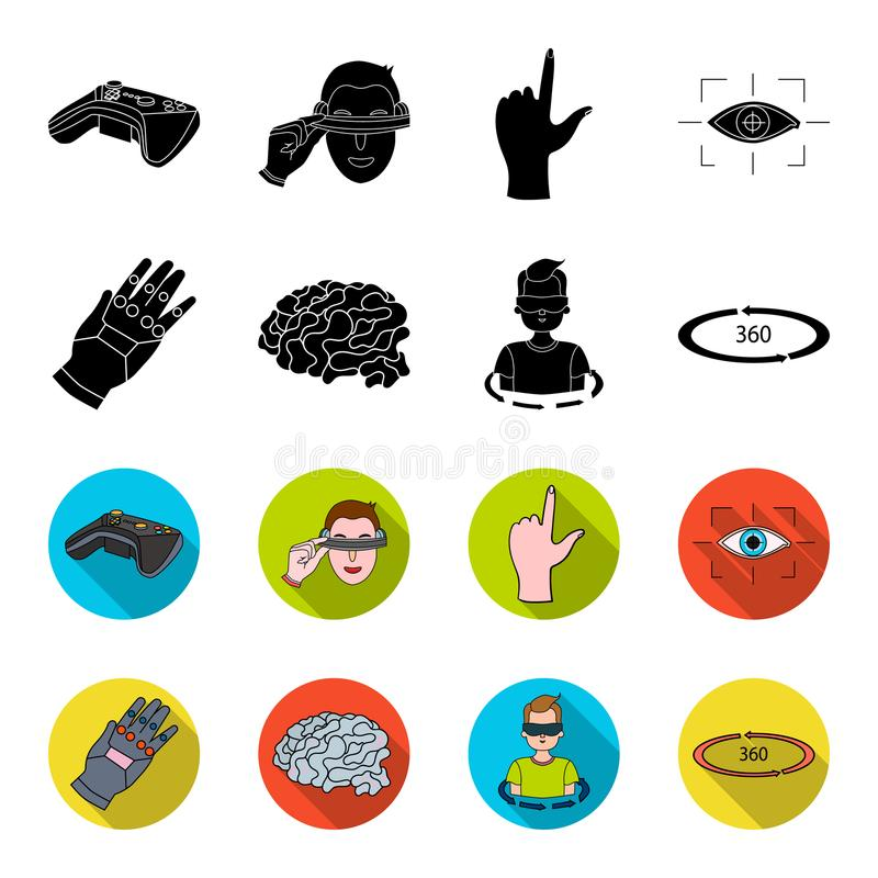 Technology, innovation, man, complemented .Virtual reality set collection icons in black,flet style vector symbol stock. Illustration vector illustration