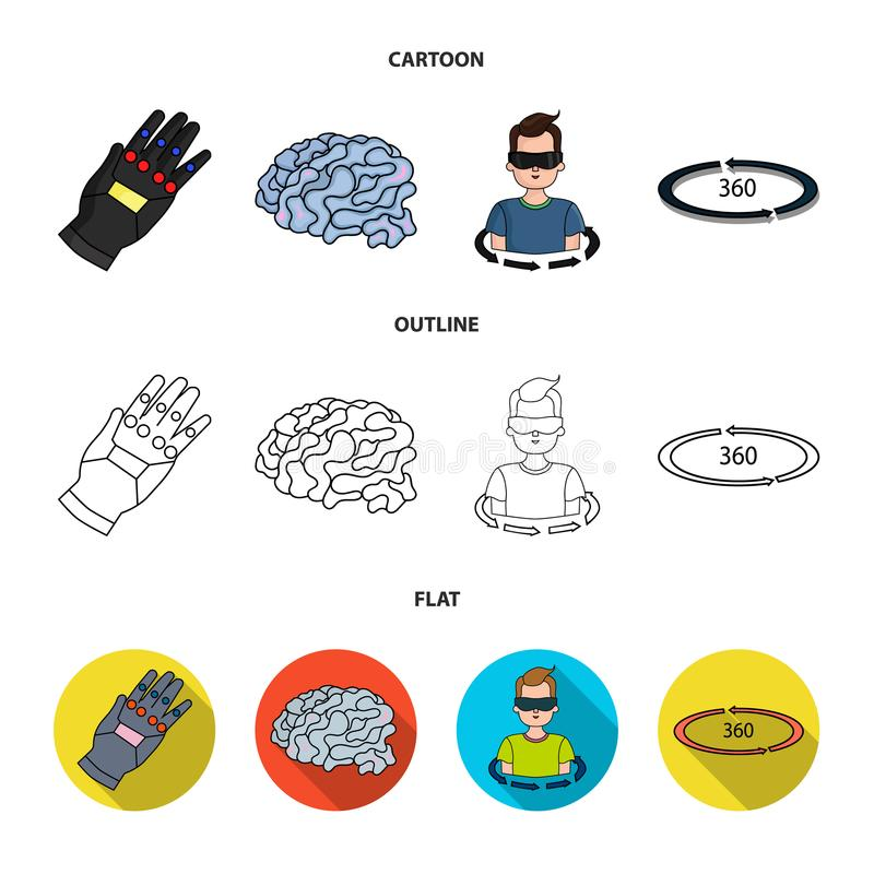 Technology, innovation, man, complemented .Virtual reality set collection icons in cartoon,outline,flat style vector. Symbol stock illustration stock illustration