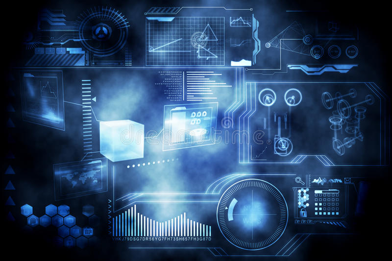 Technology interface. In black and blue vector illustration