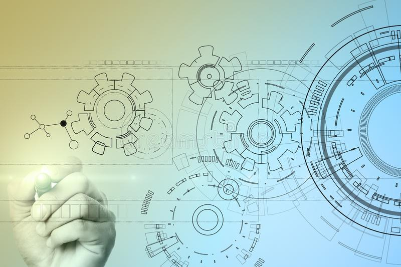 Technology interface background with gears draft. Engineering, Business, Development and communication concept. royalty free illustration