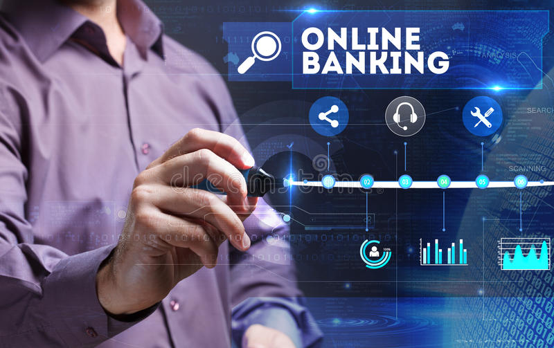 Technology, Internet, business and marketing. Young business per. Son sees the word: online banking stock photos