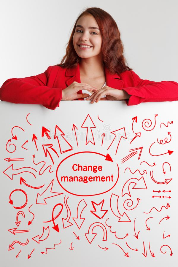 Technology, internet, business and marketing. Young business woman writing word: change management. Technology, internet, business and marketing. Young business royalty free stock image