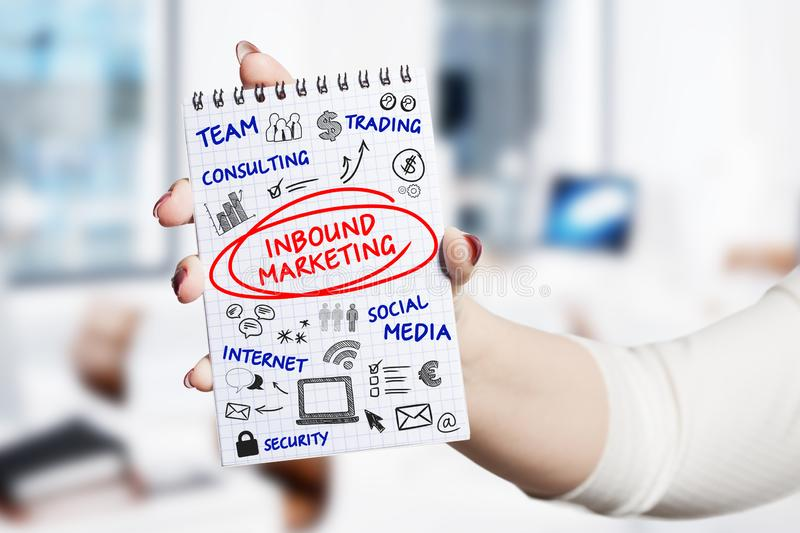 Technology, internet, business and marketing. Young business woman writing word: Inbound marketing.  stock photos