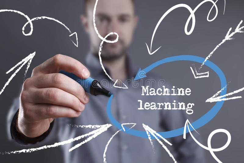 Technology, internet, business and marketing. Young business man. Writing word: Machine learning royalty free stock images