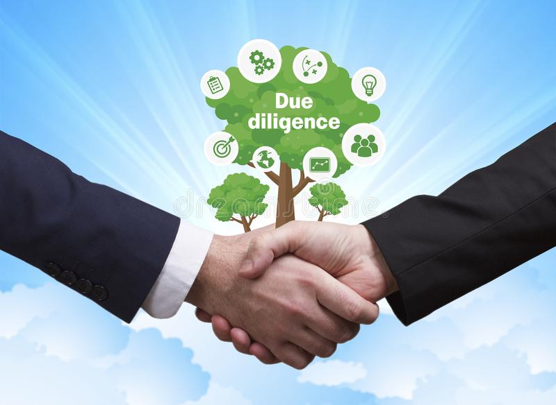 Technology, the Internet, business and network concept. Business. Men shake hands: Due diligence royalty free stock photography