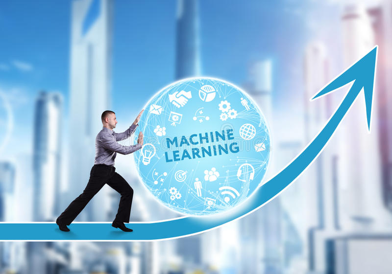 Technology, the Internet, business and network concept. A young. Businessman overcomes an obstacle to success: Machine learning stock photos