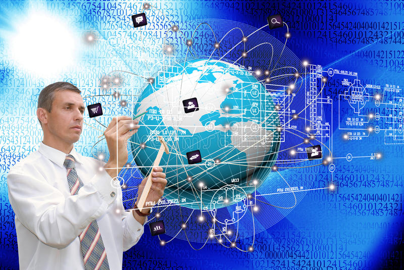 The technology Internet. Engineering designing connection technology.Creation communications technology royalty free stock photo