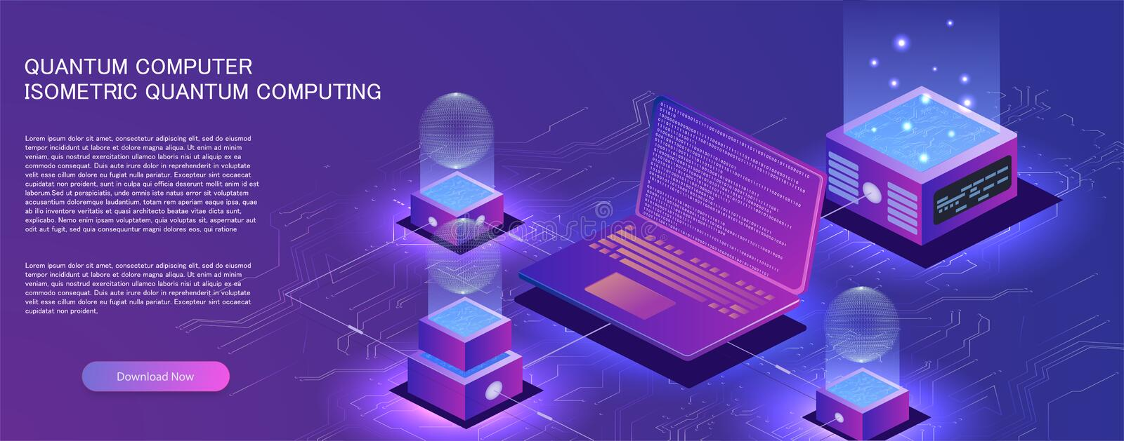 Technology isometric infographic design for quantum computer,. Artificial intelligence, big data concept with circuit board and processor vector illustration