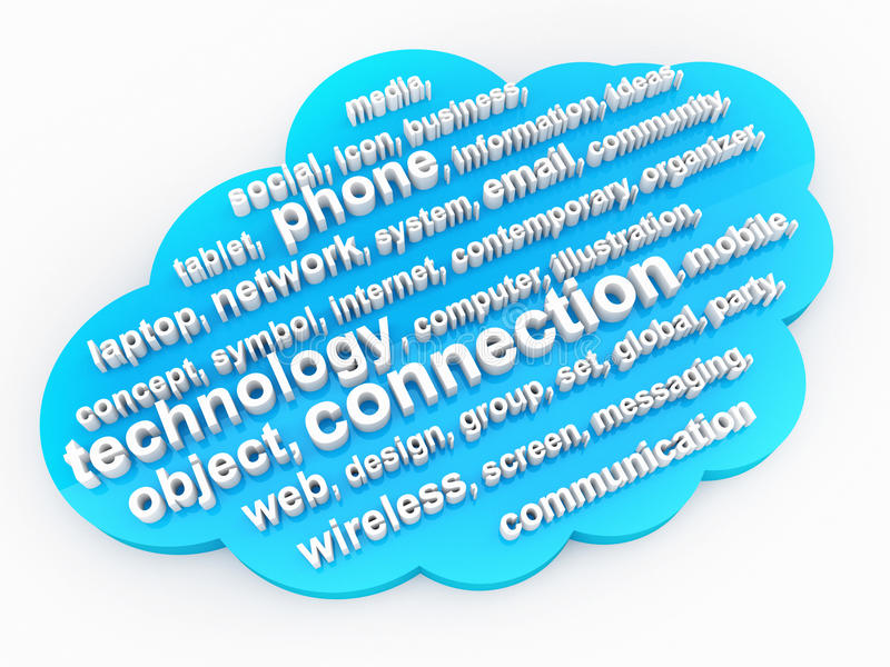 Technology issue tag cloud. 3d high quality render royalty free illustration