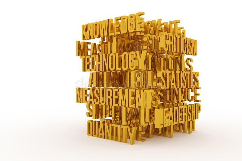 Technology, Knowledge, business conceptual golden 3D rendered words. Alphabet, background, caption & digital. Technology, Knowledge, business conceptual golden stock illustration