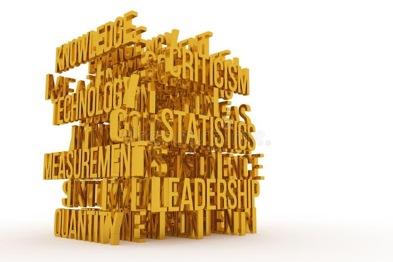 Technology, Knowledge, business conceptual golden 3D rendered words. Message, caption, positive & typography. Technology, Knowledge, business conceptual golden stock illustration