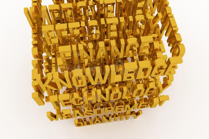 Technology, Knowledge, business conceptual golden 3D rendered words. Style, alphabet, caption & artwork. Technology, Knowledge, business conceptual golden 3D royalty free illustration