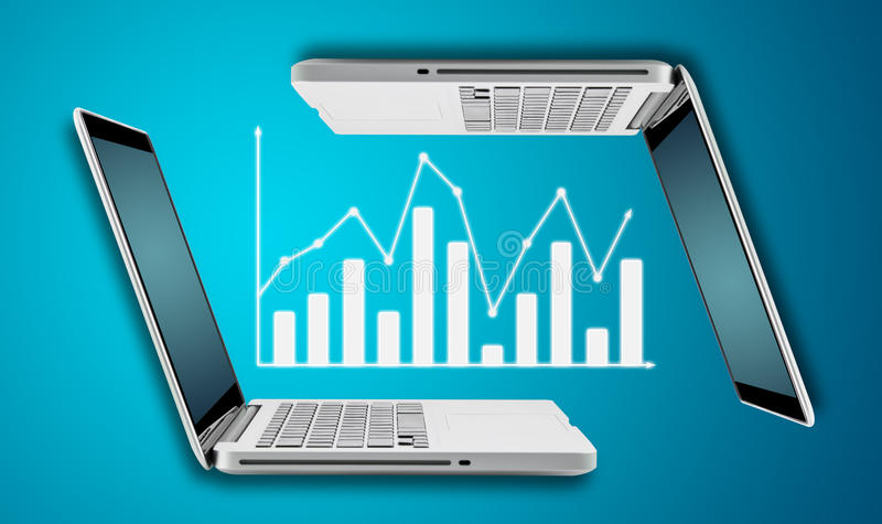 Technology laptop computer with graph finance forex chart stock images