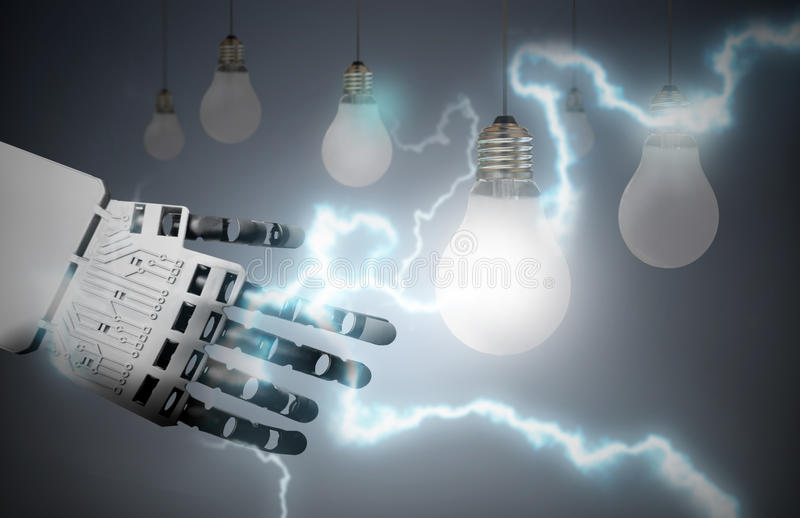 Technology leader concept. Robot hand lighting bulb with a bolt of lightening electricity stock photo