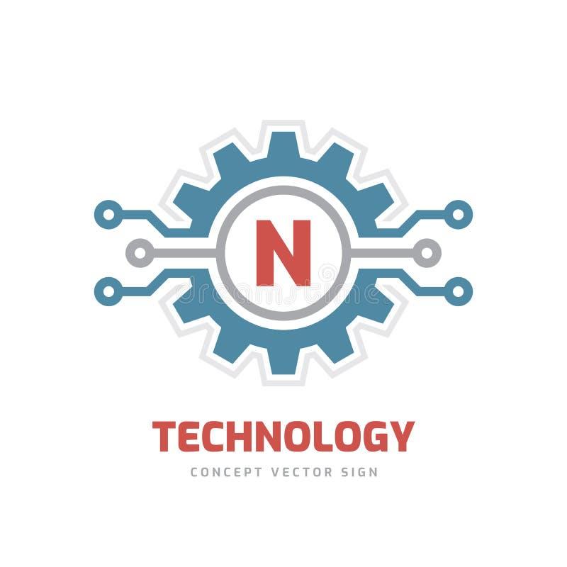 Technology Letter N - vector logo template concept illustration. Cogwheel gear abstract sign. SEO. Graphic design element stock illustration
