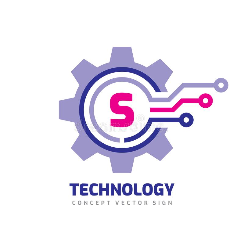 Technology Letter S - vector logo template concept illustration. Cogwheel gear abstract sign. Mechanic industrial icon. SEO. Search engine optimization royalty free illustration