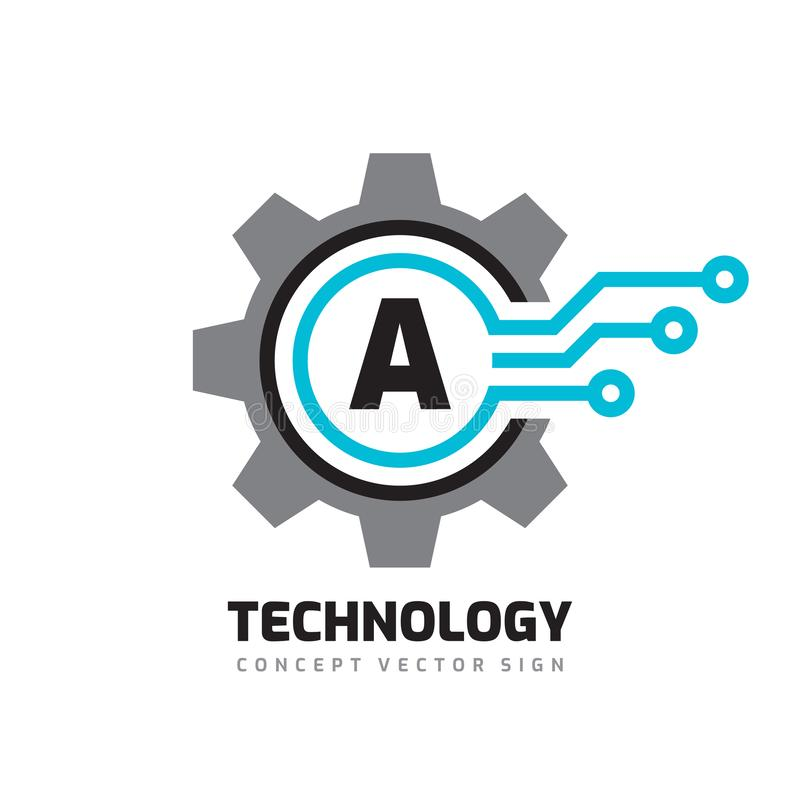 Technology Letter A - vector logo template concept illustration. Cogwheel gear abstract sign. Mechanic industrial icon. SEO. Search engine optimization royalty free illustration