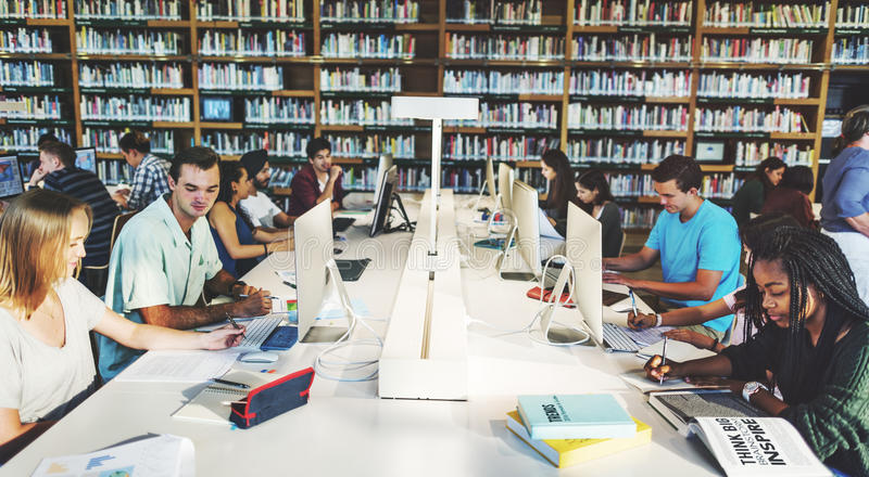 Technology Library Student Learning Concept royalty free stock photos