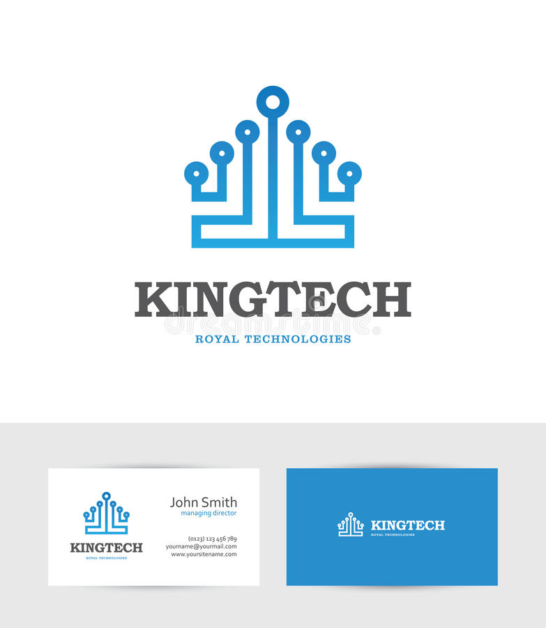 Technology logo looking like a king crown. Abstract blue technology logo looking like a king crown. Can be used for computer, data, digital or hi-tech business royalty free illustration